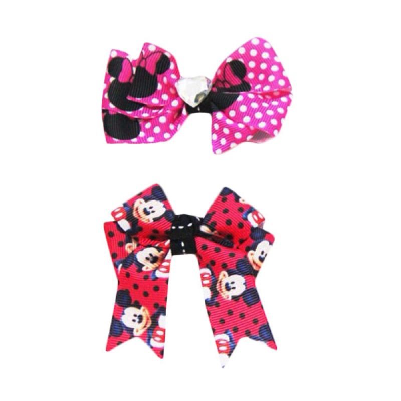 Bowlicious Mickey and Minnie Hair Clips Pink and Red
