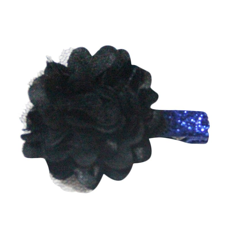 Bowlicious Puffy Flower Black with Blue Glitter Clip
