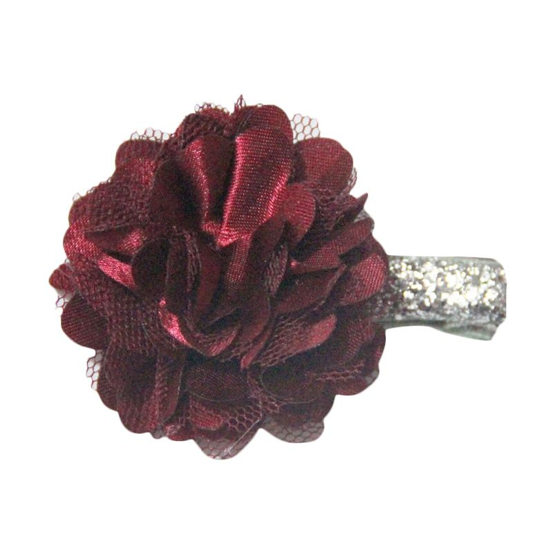 Bowlicious Puffy Flower Red with Silver Glitter Clip