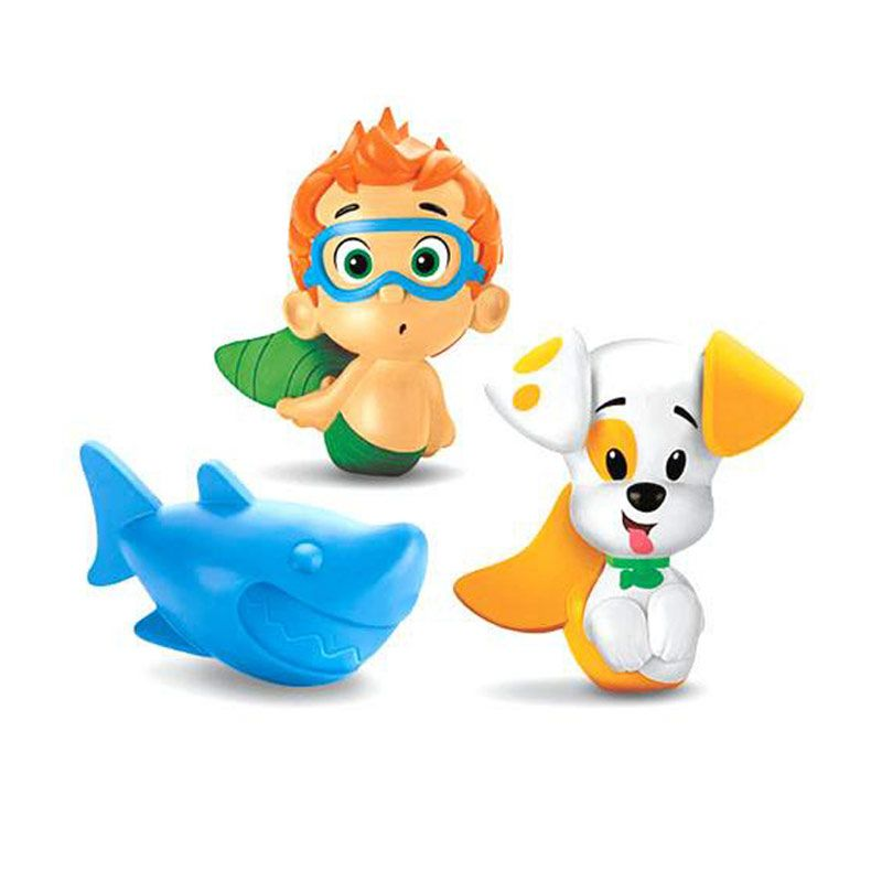 Fisher Price Bubble Guppies Nonny, Puppy and hark Bath Squirters Mainan Anak