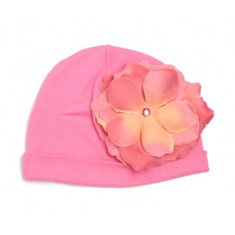 Jamie Rae Hats Cotton Hat with Rose Flower in Candy Pink