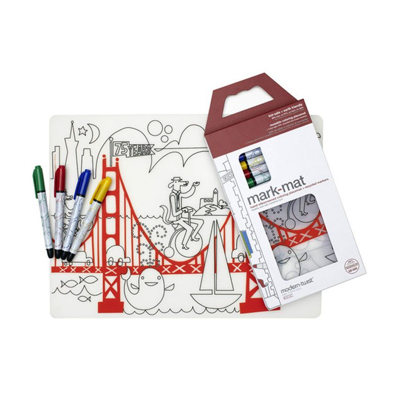 Modern Twist Golden Gate Mark Mat Coloring Silicone Placemat with Markers Mainan Anak