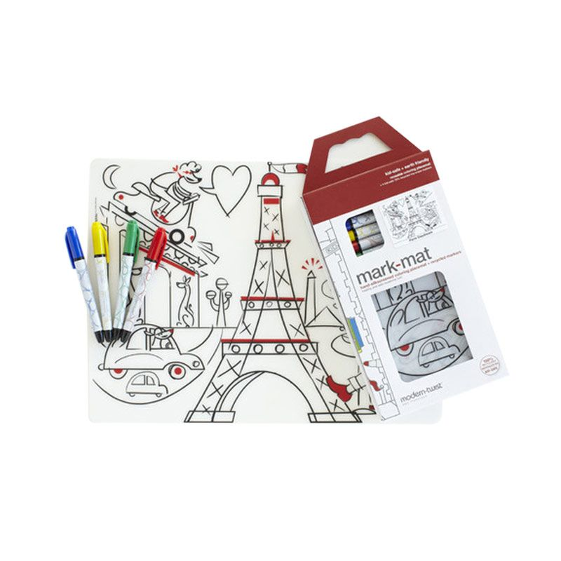 Modern Twist Paris Daydream Mark Mat Coloring Silicone Placemat with Markers Mainan Anak