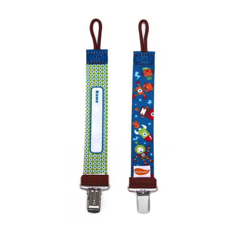 Ulubulu Robonaut Personalized Pacifier Clip Blue