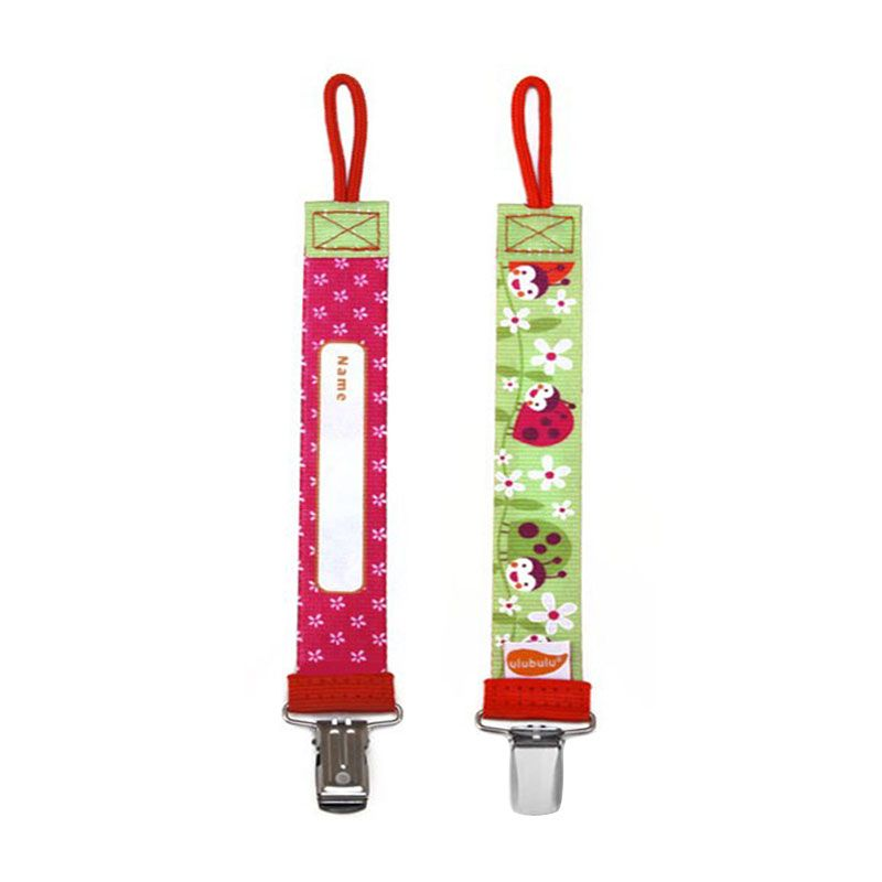 Ulubulu Ladybug Personalized Pacifier Clip Green