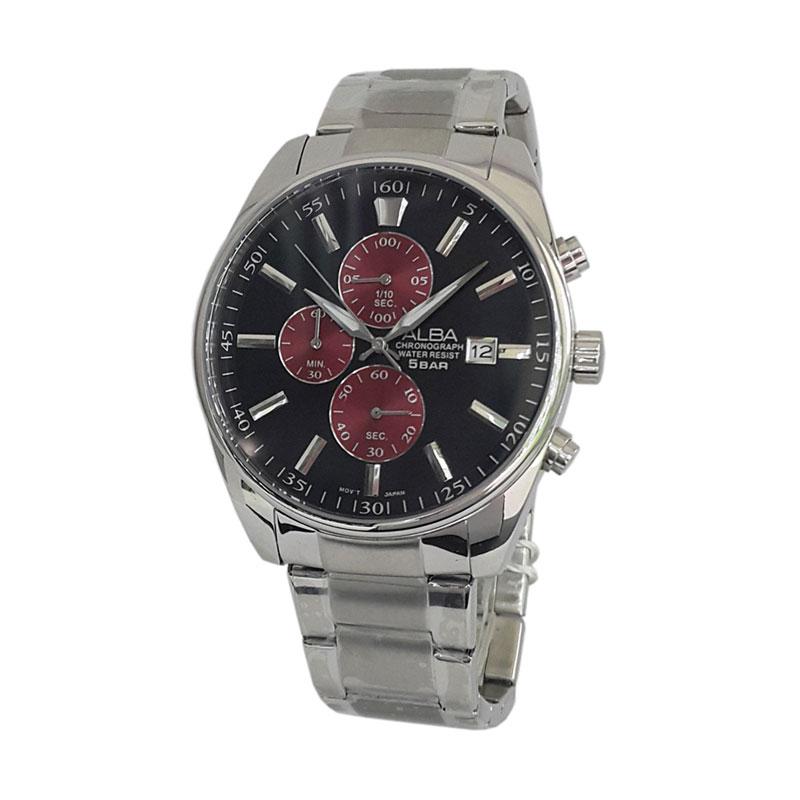 Alba 161102 Chronograph Jam Tangan Pria - Silver Kombinasi Hitam dan Merah ae7cd26a62