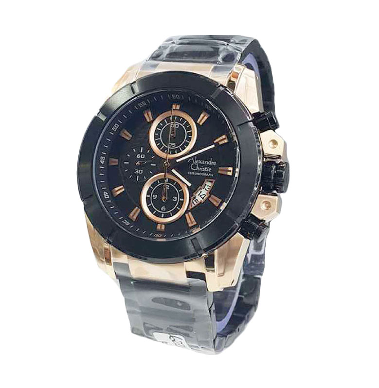 Alexandre Christie Stainless Steel Strap Formal AC6226 Jam Tangan Pria - Black Gold