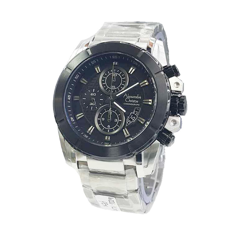 Alexandre Christie Stainless Steel Strap Formal AC6226 Jam Tangan Pria - Silver Black