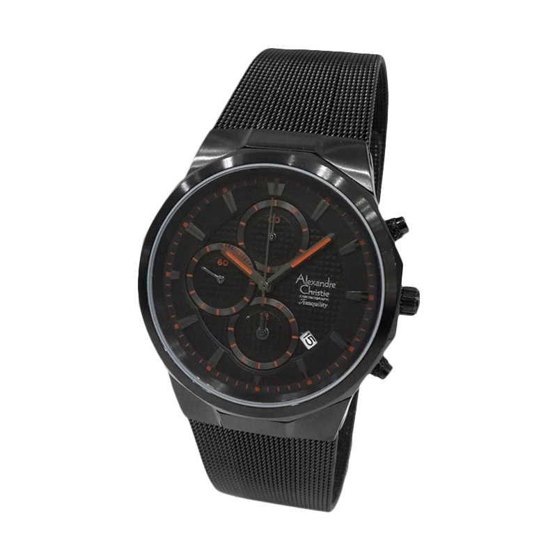 ... harga Alexandre Christie 141028 Chronograph Tali Pasir Jam Tangan Pria Hitam Oranye Blibli com