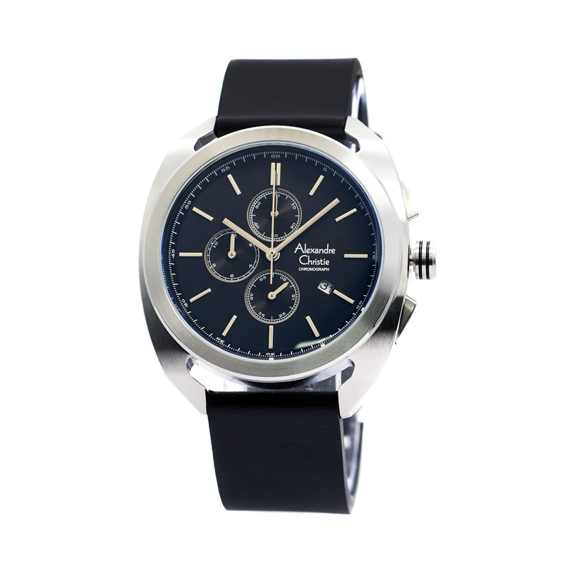 Alexandre Christie 6424 Leather Jam Tangan Pria - Silver Black