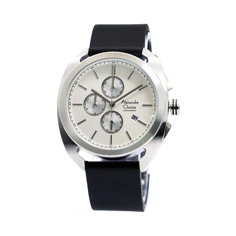 Alexandre Christie 6424 Leather Jam Tangan Pria - Silver White