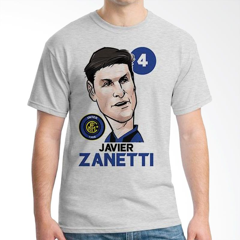 Ordinal Football Player Edition 34 Zanetti Grey Kaos Pria