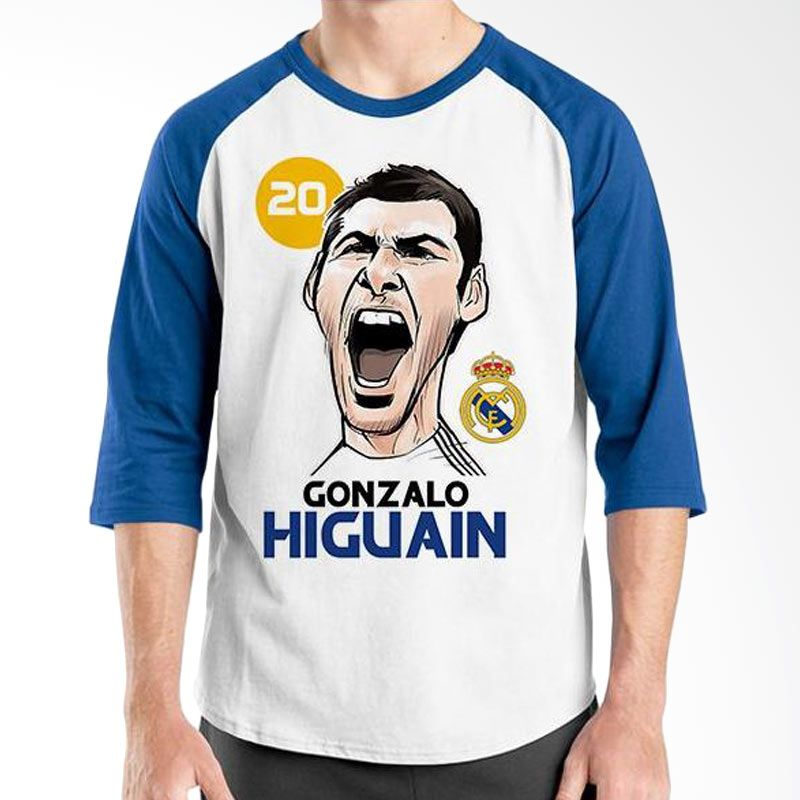 Ordinal Football Player Edition Higuain Raglan Biru Putih T-Shirt Pria