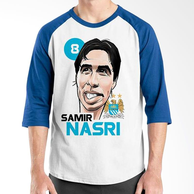 Ordinal Football Player Edition Nasri Raglan Biru Putih T-Shirt Pria