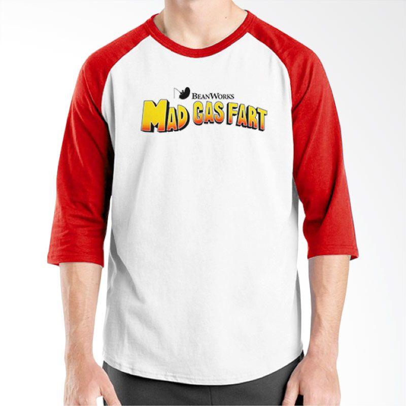 Ordinal Raglan Movie Logo Parody 06 Putih Merah Kaos Pria