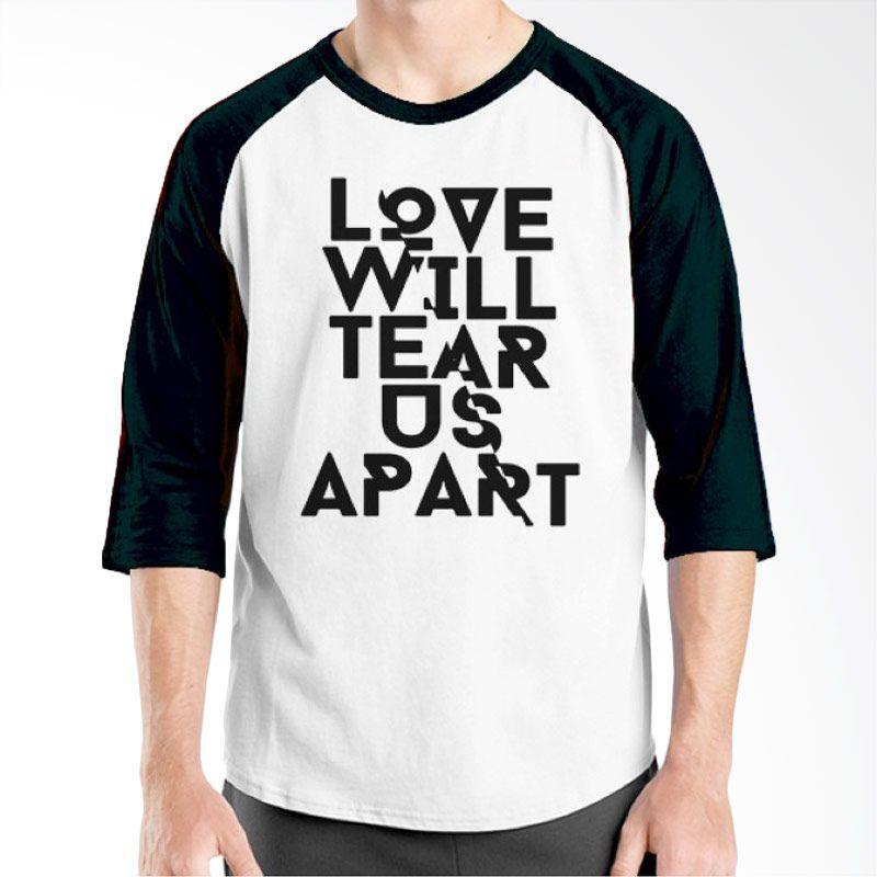 Ordinal Raglan Typography Love 14 Putih Hitam T-Shirt Pria