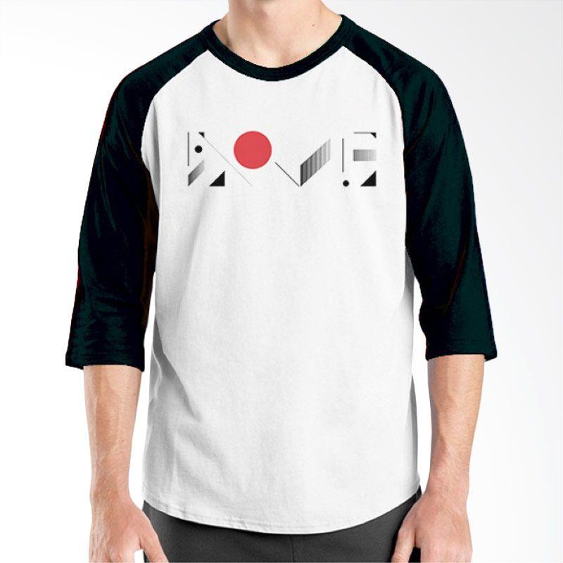Ordinal Raglan Typography Love 16 Putih Hitam T-Shirt Pria