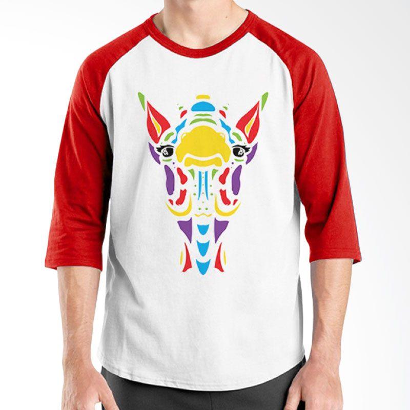 Ordinal Animal Character 03 Raglan Merah Putih T-Shirt Pria
