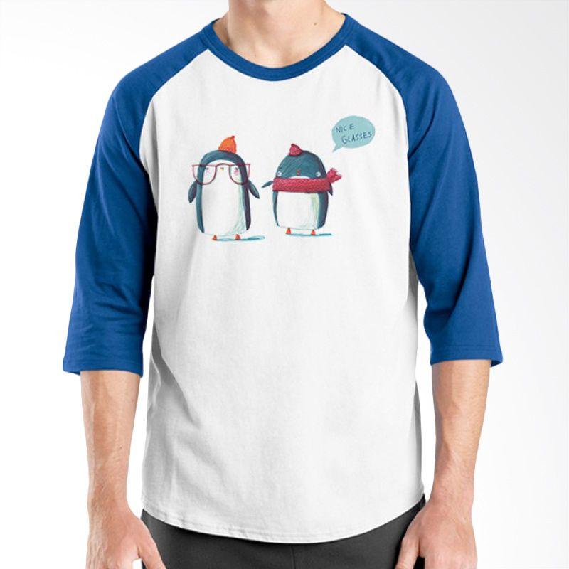 Ordinal Animal Character 04 Raglan Biru Putih T-Shirt Pria