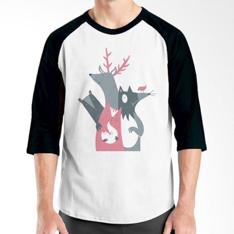 Ordinal Animal Character 06 Raglan Hitam Putih T-Shirt Pria