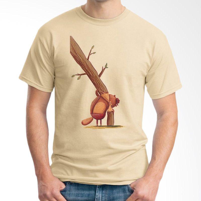 Ordinal Animal Character 07 Coklat Krem T-Shirt Pria
