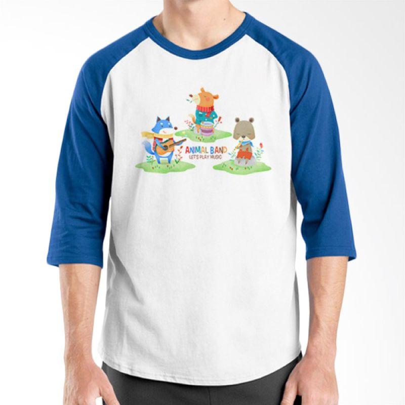 Ordinal Animal Character 09 Raglan Biru Putih T-Shirt Pria