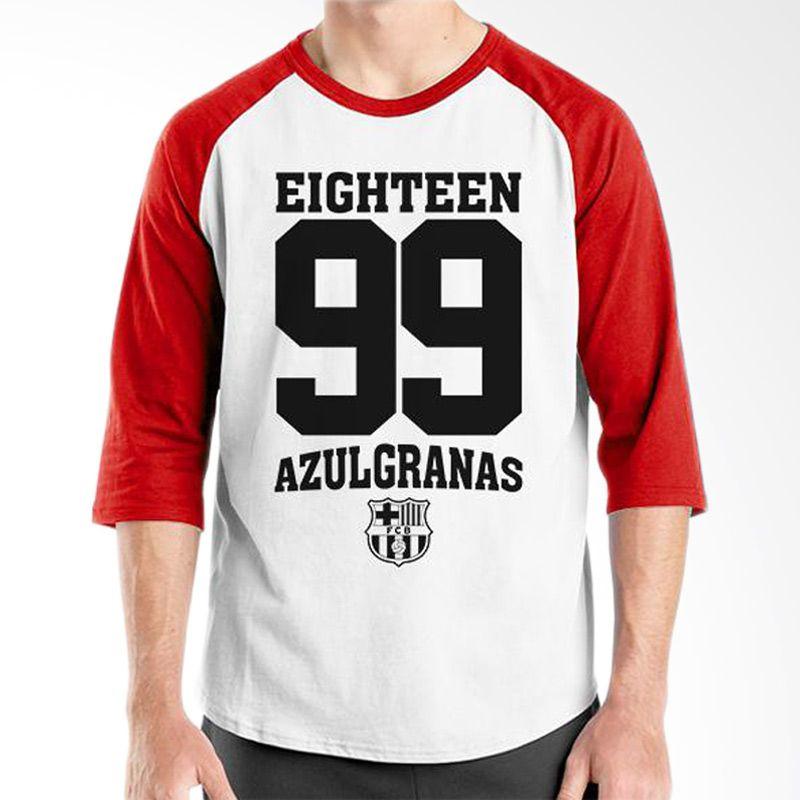 Ordinal Barcelona Edition 03 Raglan Putih Merah T-Shirt Pria