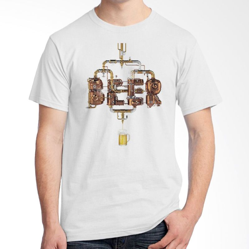 Ordinal Beer Holic Edition 15 Putih Kaos Pria