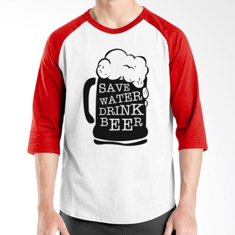 Ordinal Raglan Beer Holic Edition 09 Merah Putih Kaos Pria