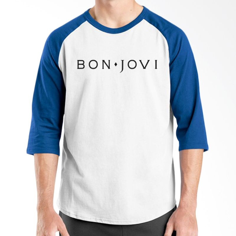 Ordinal Bon Jovi Edition 03 Biru Putih Raglan T-shirt Pria
