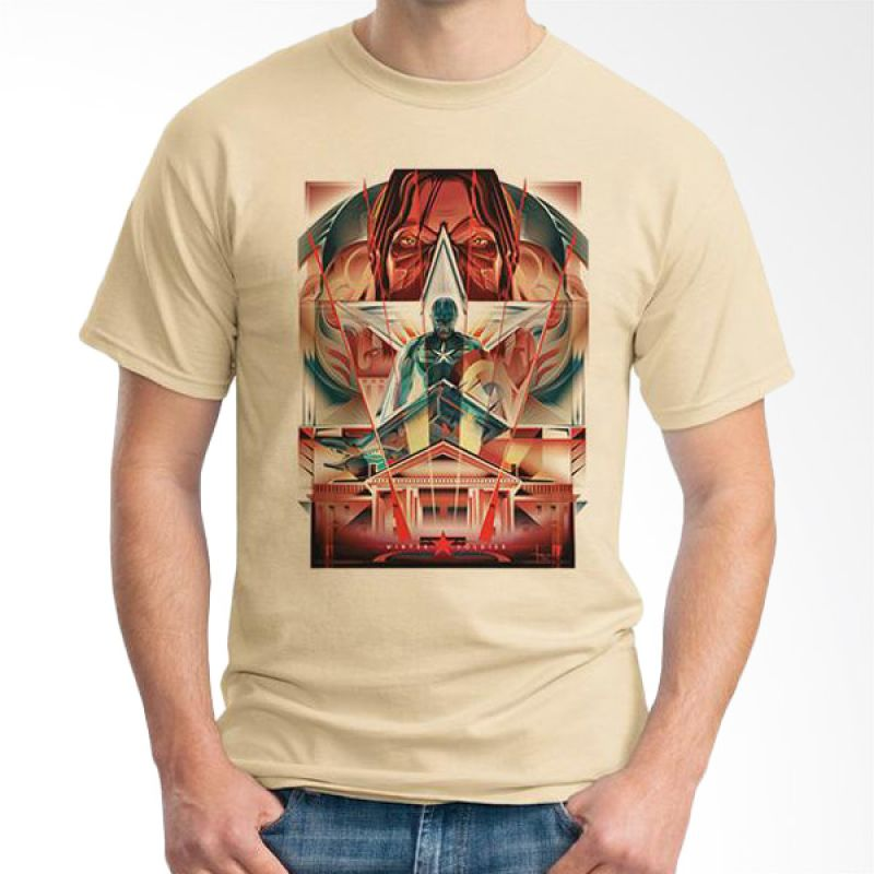 Ordinal Captain America Poster 02 Krem T-Shirt Pria