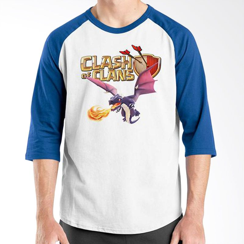 Ordinal Raglan Clash of Clans Edition 02 Biru Putih Kaos Pria