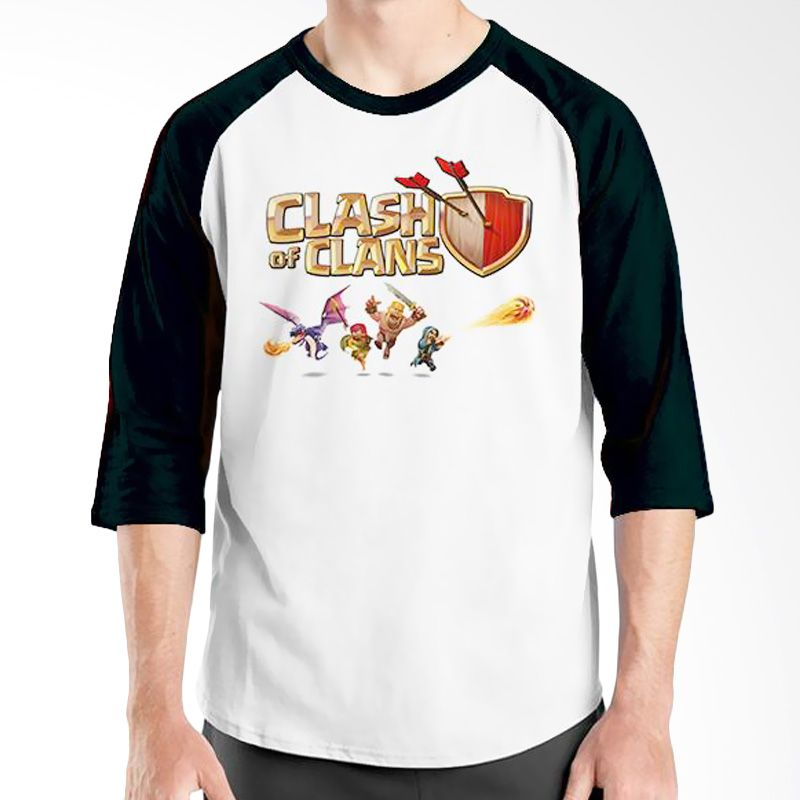 Ordinal Clash of Clans Edition 03 Hitam Putih Kaos Pria