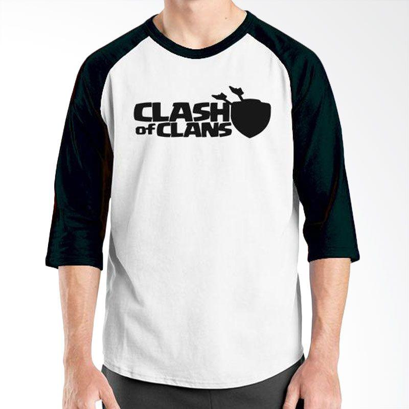 Ordinal Raglan Clash of Clans Lego Edition 02 Hitam Putih T-Shirt Pria