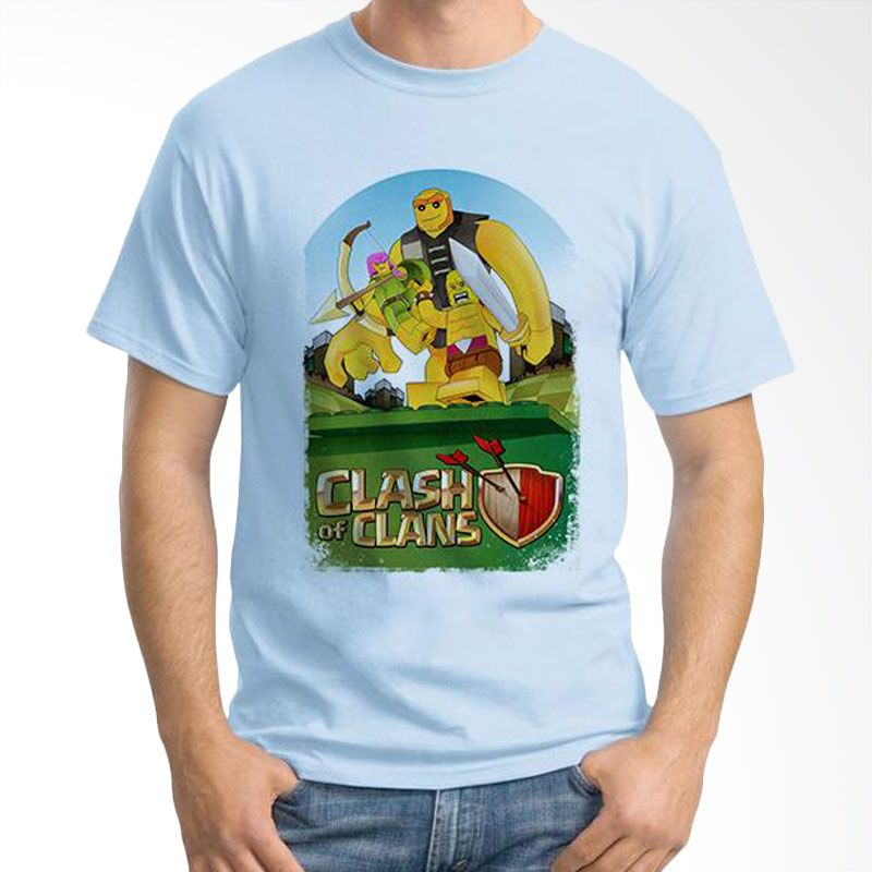 Ordinal Clash of Clans Lego Edition 03 Biru Muda T-Shirt Pria