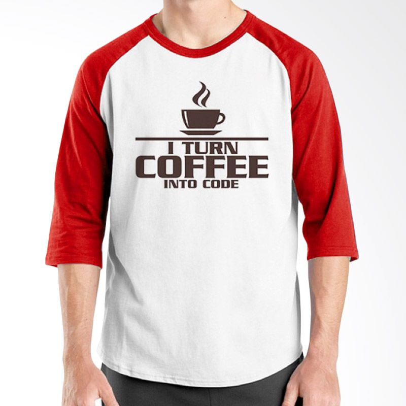 Ordinal Raglan Coffee Addict Edition 05 Merah Putih T-Shirt Pria