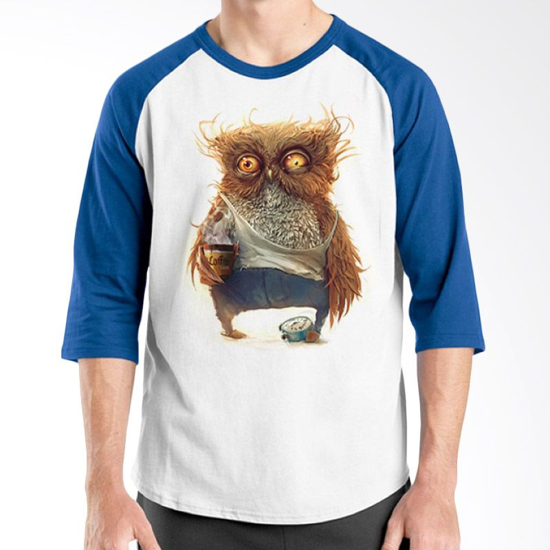 Ordinal Raglan Coffee Addict Edition 07 Biru Putih T-Shirt Pria