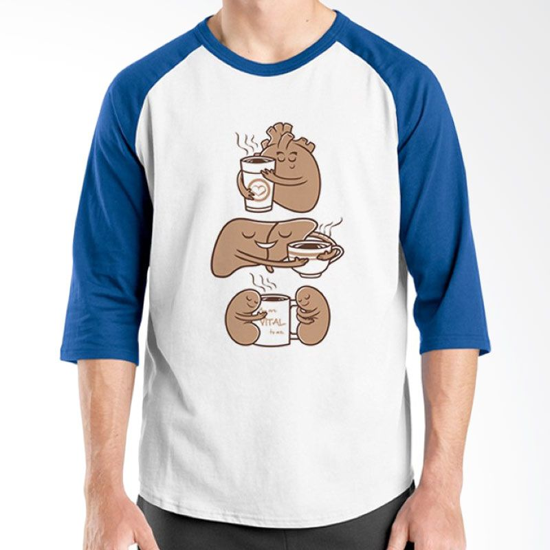 Ordinal Raglan Coffee Addict Edition 09 Biru Putih T-Shirt Pria
