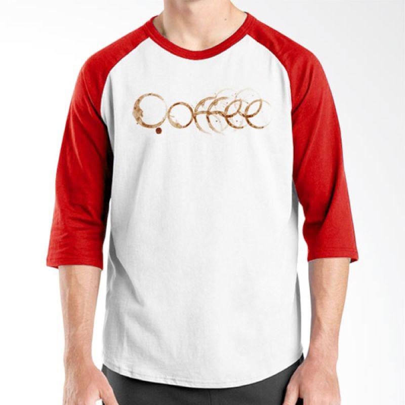 Ordinal Raglan Coffee Addict Edition 10 Merah Putih T-Shirt Pria