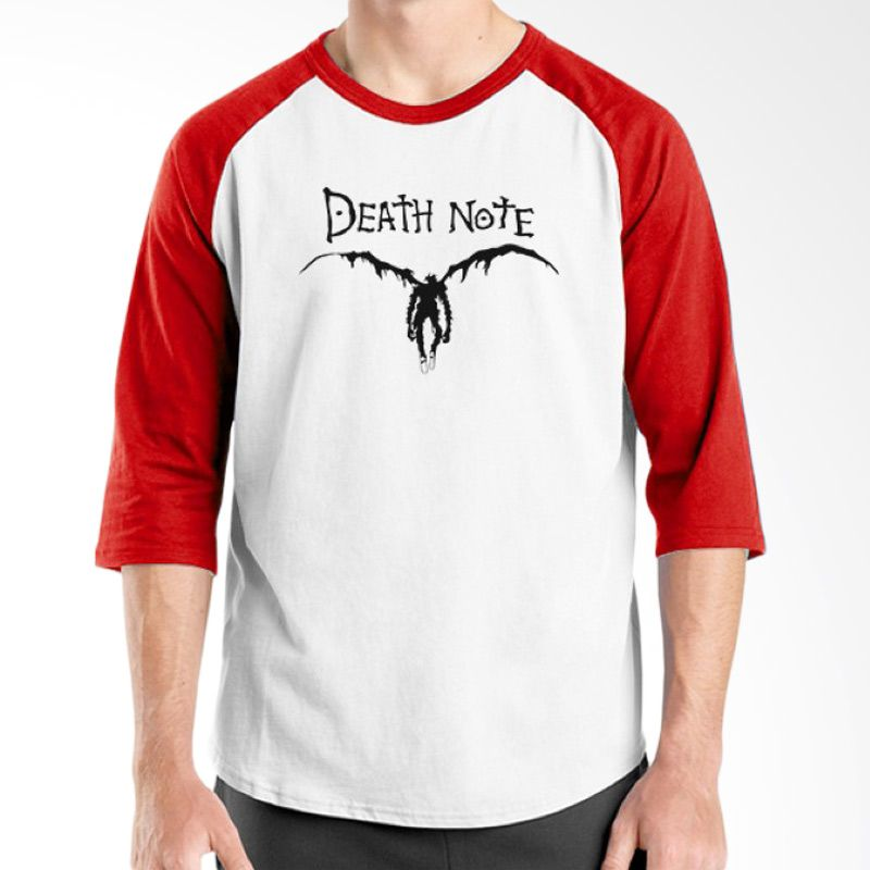 Ordinal Raglan Death Note 01 Putih Merah T-Shirt Pria