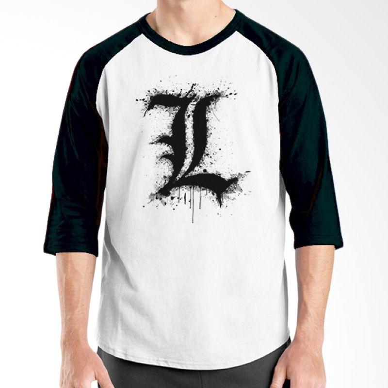 Ordinal Raglan Death Note 05 Putih Hitam T-Shirt Pria