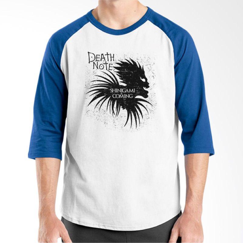 Ordinal Raglan Death Note 06 Putih Biru T-Shirt Pria