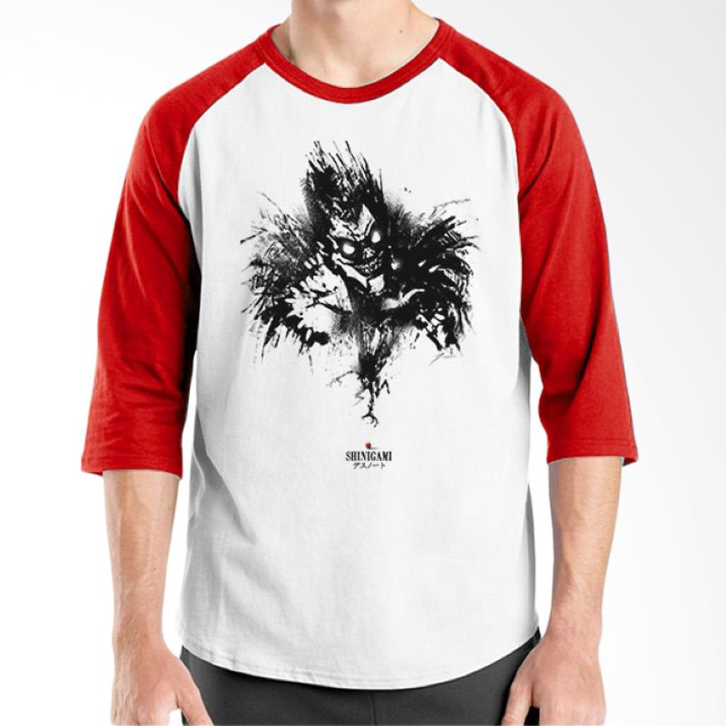 Ordinal Raglan Death Note 07 Putih Merah T-Shirt Pria