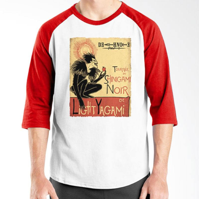 Ordinal Raglan Death Note 11 Putih Merah T-Shirt Pria