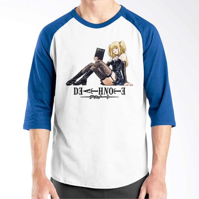 Ordinal Raglan Death Note 13 Putih Biru T-Shirt Pria