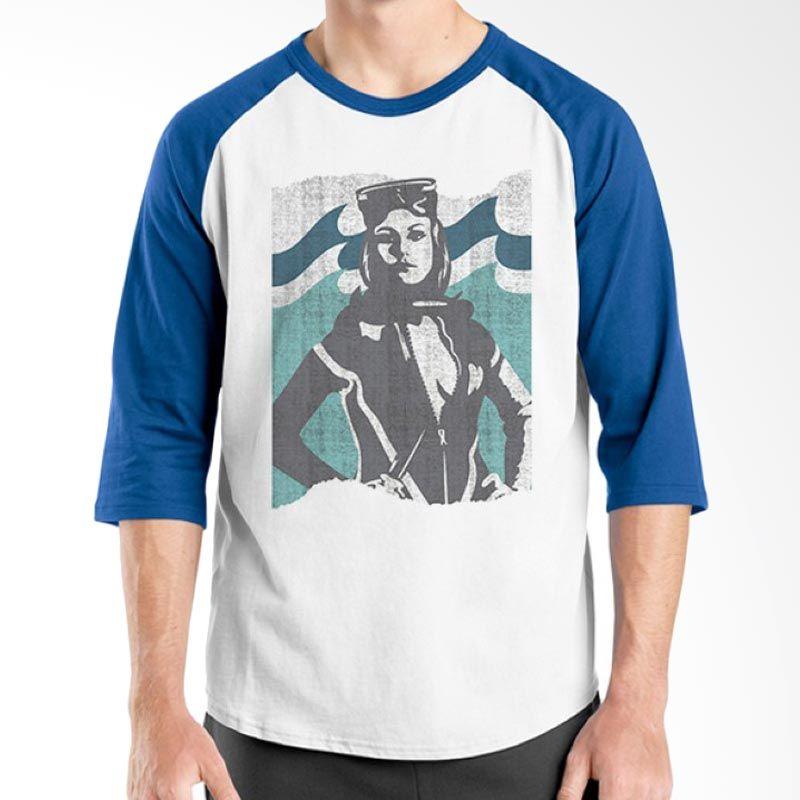 Ordinal Diving Geek 03 Raglan Biru Putih T-Shirt Pria