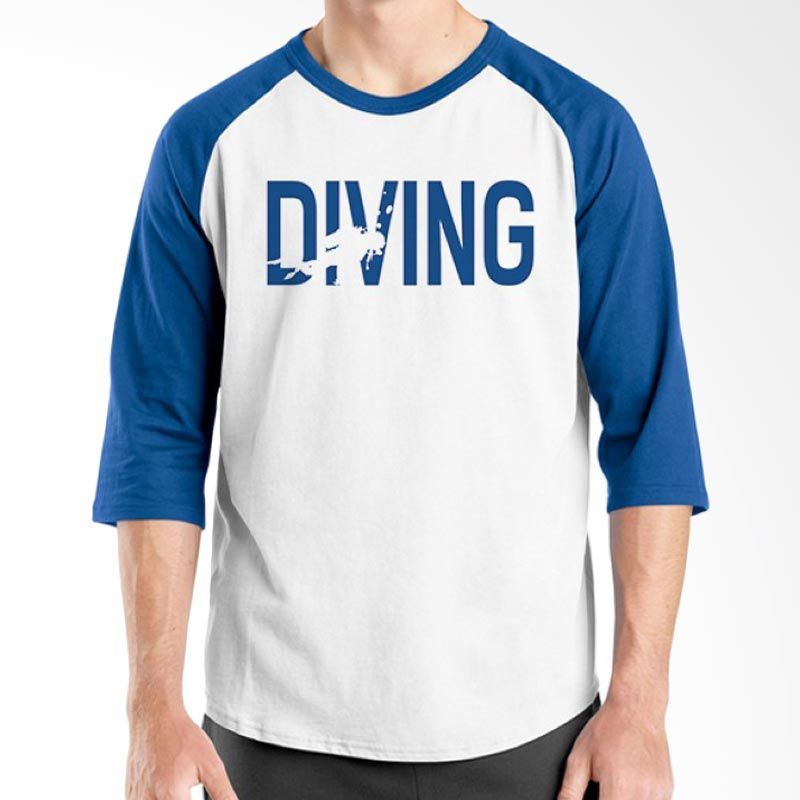 Ordinal Diving Geek 05 Raglan Biru Putih T-Shirt Pria