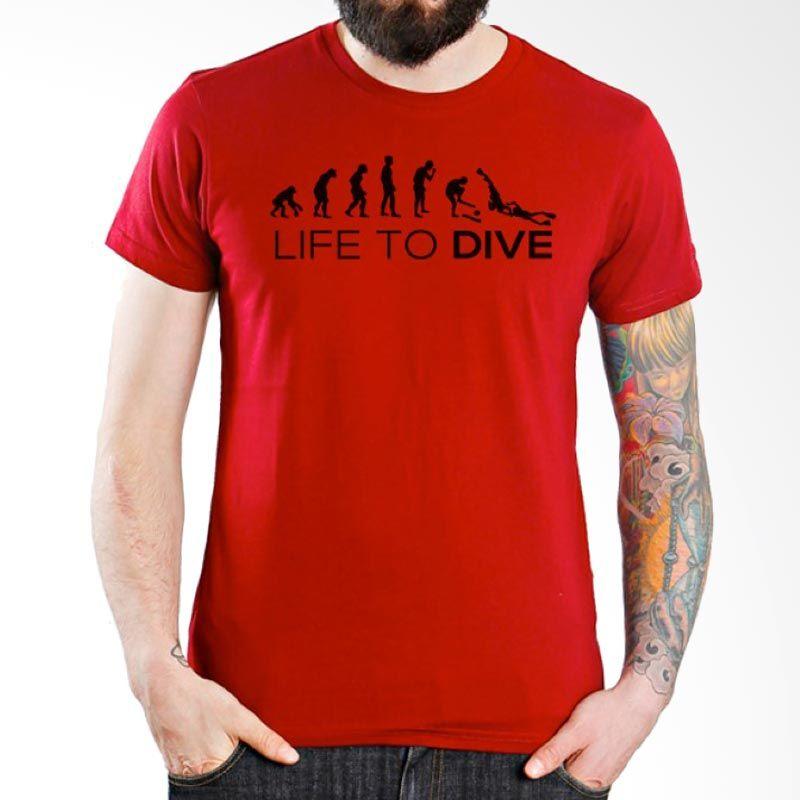 Ordinal Diving Geek 07 Merah Kaos Pria