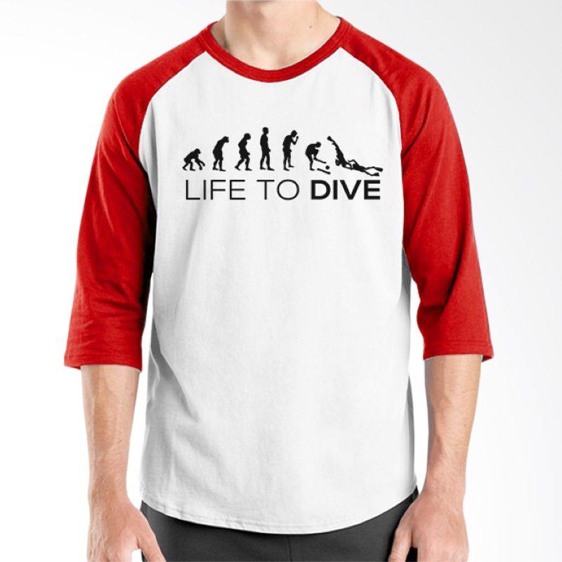 Ordinal Diving Geek 07 Raglan Merah Putih T-Shirt Pria