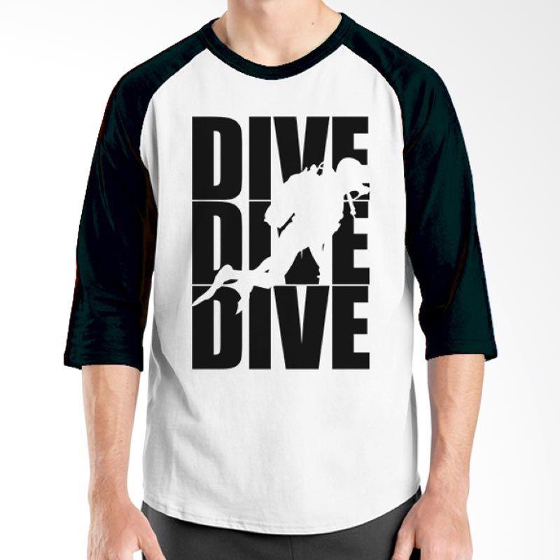 Ordinal Diving Geek 13 Raglan Hitam Putih T-Shirt Pria